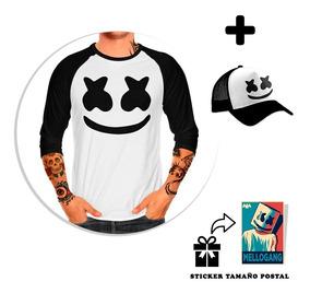 Kit Playera Raglan Caballero Marshmello + Gorra + Sticker