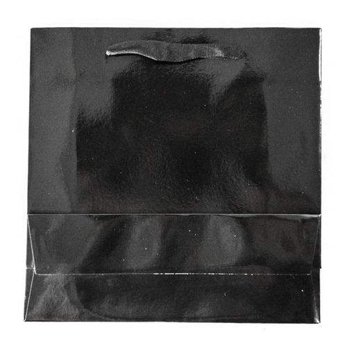 Bolsa Cartulina Negra Laminada 22x8x22 Con Manija X100 C