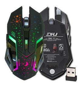 Mouse Gamer 3200dp Sem Fio Luz Led Rgb Dhj-911
