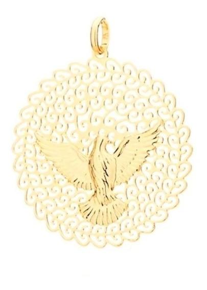Medalha Pingente Espirito Santo Pomba Da Paz Folheado Á Ouro
