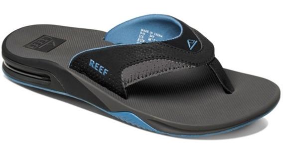 Ojotas Reef Fanning Grey/light Blue Con Destapador / Camara