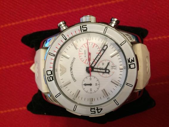 Relógio Empório Armani Bisel De Cristal Branco Mod. Ar5947