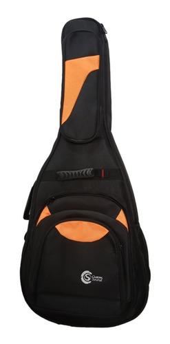 Capa Bag Custom Sound Luxo Para Violao Folk Preta C Laranja