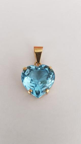 Pingent Ouro Pedra Topázio Azul Sky Forma Coração 8 Quilates