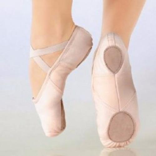 Zapatillas Ballet Media Punta Lona Arco Elastizado So Danca