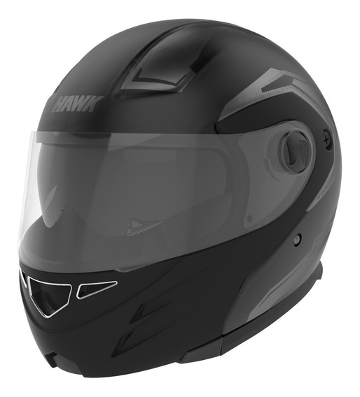 Casco Moto Hawk Rs5 Vector Rebatible Negro Mate Doble Visor
