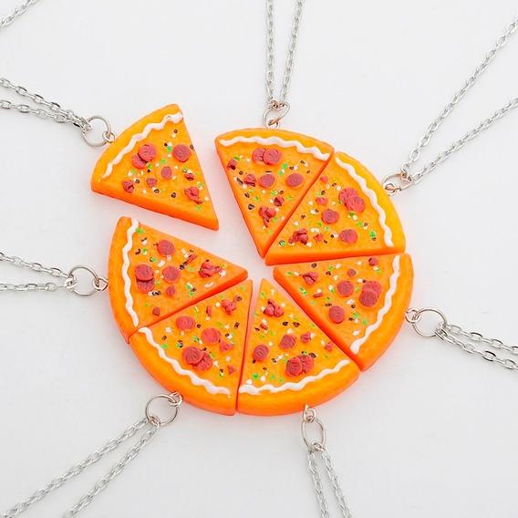 Kit Com 7 Colar De Pizza Cordão Melhores Amigos Best Friends