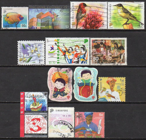 Cingapura - 2001-14 - Lote 14 Selos Diversos