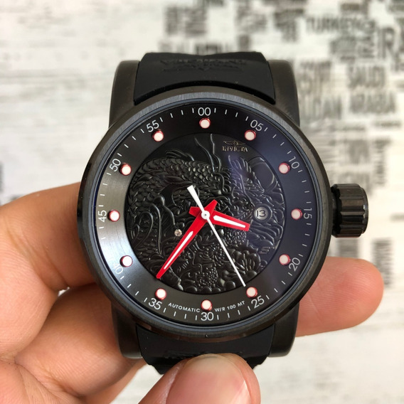 Relógio Invicta 19546dragao Preto Vermelho Automático Yakuza