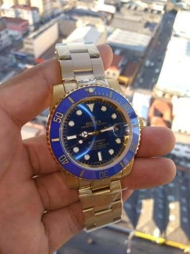 Relógio Masculino Dourado Com Azul Submariner