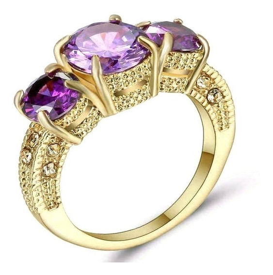 Aro 21 Anel Feminino Cristal Ametista Roxa 3banh Ouro 490 X