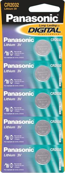 Bateria De Lithium Panasonic Botão Cr2032 C/ 5 Unidades