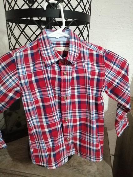 Camisa Sfera Kids Talla 2 Azul Y Rojo