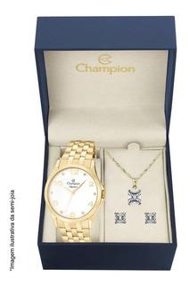 Relógio Champion + Cordão E Bricos Dourado Lanç Frt Grt N.f.