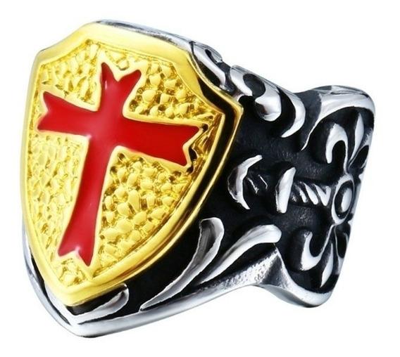 Anel Cruz Templária Cavaleiros Templários De Cristo Escudo