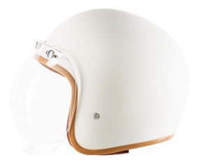 Capacete Lucca Custom Old School Matt Cream Com 2viseira