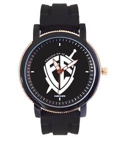 Relógio Masculino Escudo Da Fé Pulseira De Borracha 5036