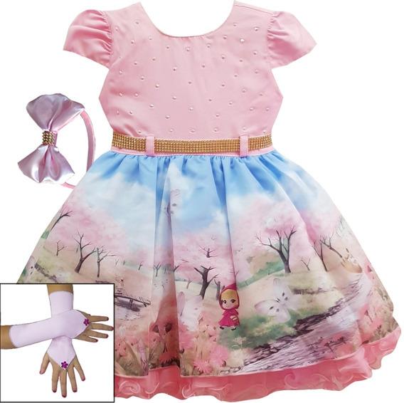 Vestido De Festa Infantil Masha E O Urso Festa Luxo Luvas