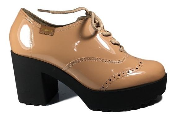 Sapato Oxford Moleca Feminino Verniz Salto Tratorado Bege