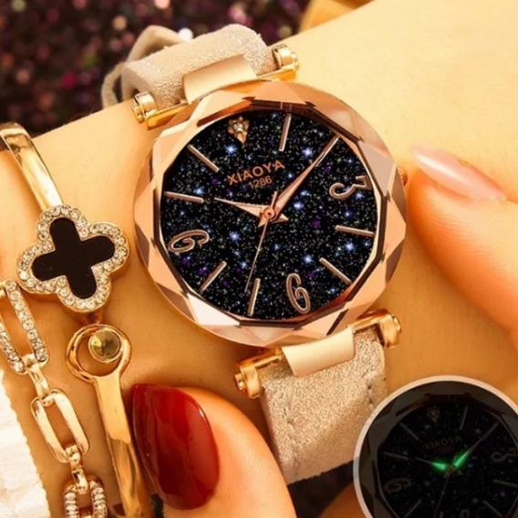 Relógios Feminino Céu Estrelado Nova Moda+caixa+bracelete