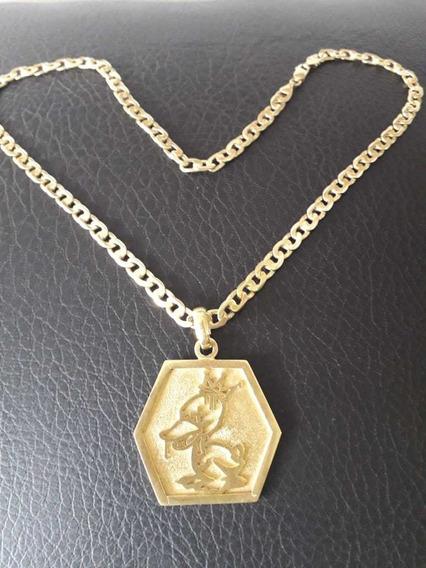 Cordão De Prata Banhada A Ouro Com A Medalha Da Duck