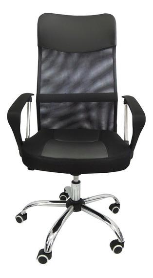 Poltrona Cadeira Presidente Em Tela Mesh Del-8009 Preta