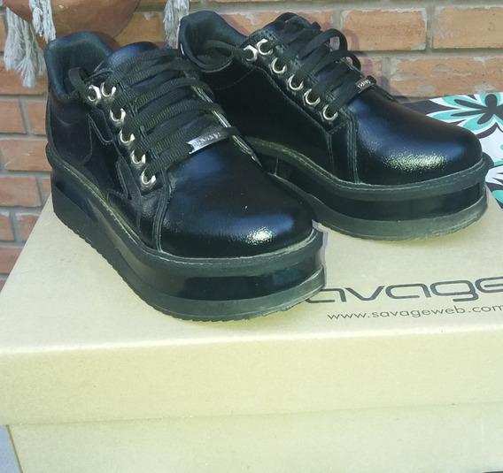 Zapatillas Mujer Negra Con Plataforma Savage
