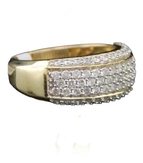 Anel De Ouro 18k Pavê Com 100 Diamantes Brancos