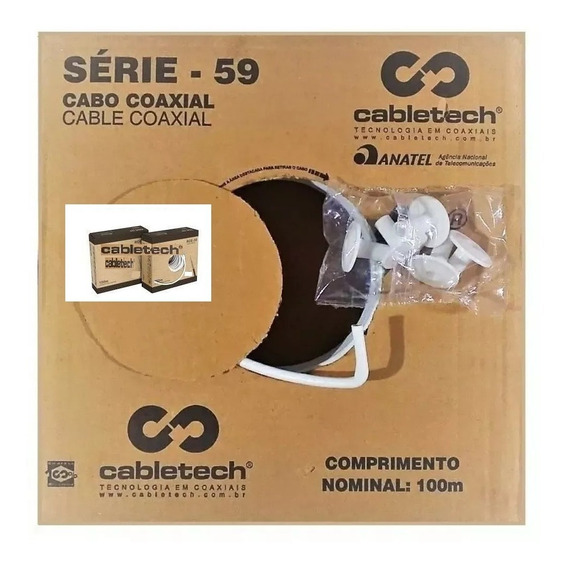 Cabo Coaxial Cabletech Rg 59 200 Mts + 20 Conectores Rj 59