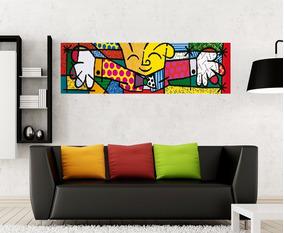 Quadro Abraço The Hug Romero Britto - Pintado A Mão 30x100cm