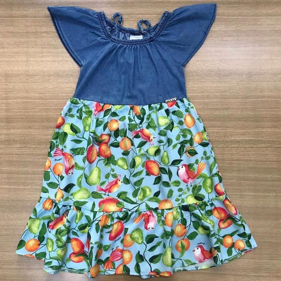 Momi Vestido Infantil Frutas/jeans 6 Ao 14 Verão 2020