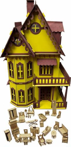 Imagem 1 de 2 de Casa Casinha Castelo Pintada Amarela Polly Pocket + Móveis