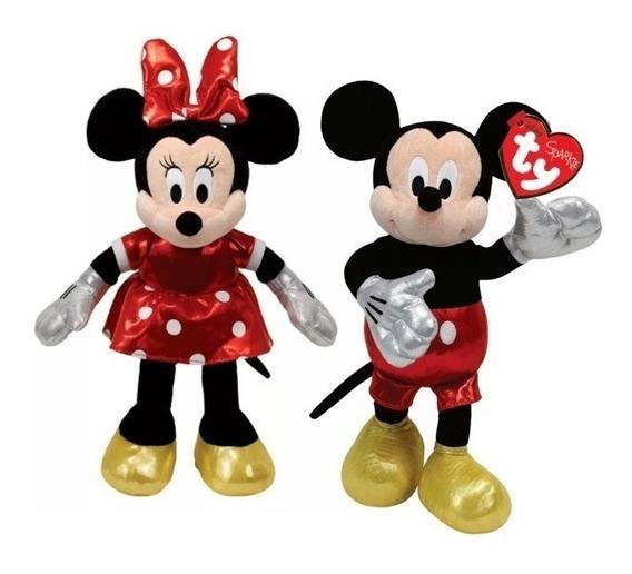 6 Pelúcias 2 Minnie Vestido Vermelho 2 Vestido Rosa 2 Mickey
