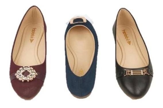 Combo 3x1 Zapato Valerina Para Dama Multicolor 016544