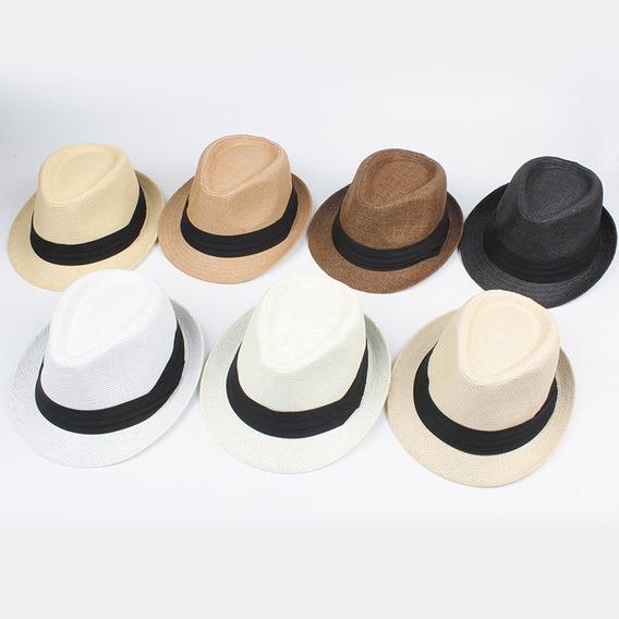 Moda Hombres Mujeres Sombrero De Paja Contraste Cinta Fedora