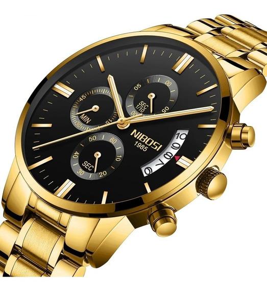 Relógio Masculino Luxo Cronógrafo Anti-risco Nibosi C/caixa