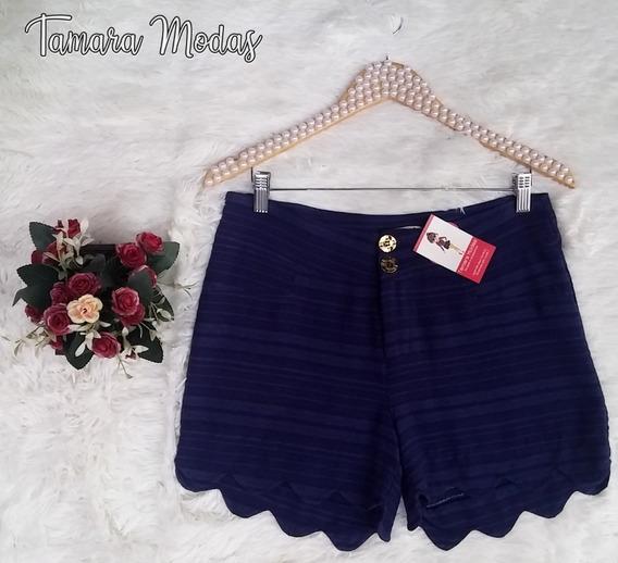 Shorts De Linho Azul Marinho Tamanho M Veste 42 Barra Núvem