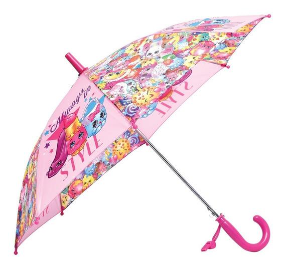 Paraguas Shopkins Automatico De Tela Orig Footy Mundo Manias