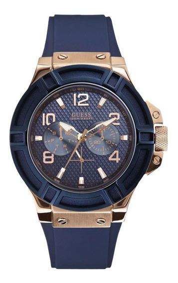 Relógio Guess Masculino Multifunção Rosê/azul /w0247g3