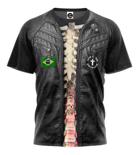 Camiseta Colete Couro Moto Clube Camisa Blusa Caveira Mod 02