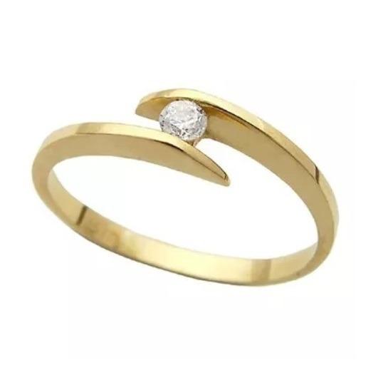 Anel Solitário De Ouro 18k/750 Noivado + Diamante De 5pt