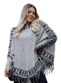 Blusa Poncho Kimono Tricô Inverno Lindo Feminio