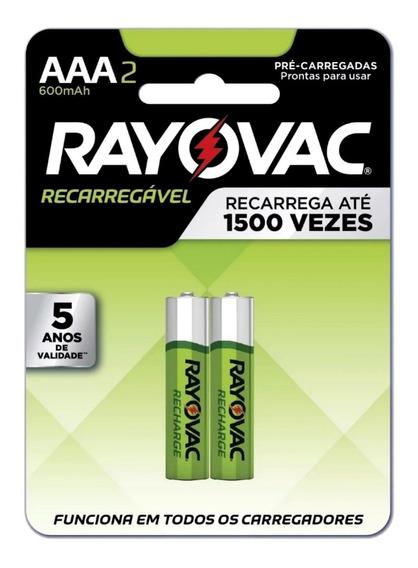 Pilha Aaa Palito Recarregável C/ Duas Rayovac Sony Panasonic