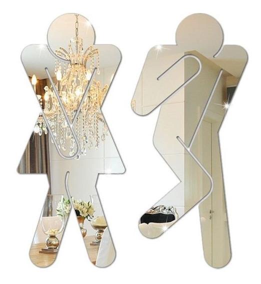 Espelho Decorativo Sinalização Em Acrílico Para Banheiro