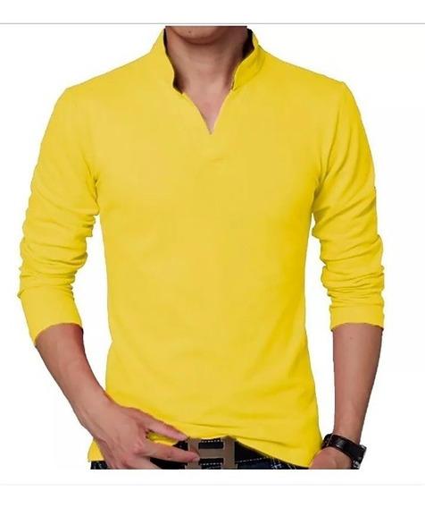 Camisa Polo Manga Longa Gola V Pronta Entrega