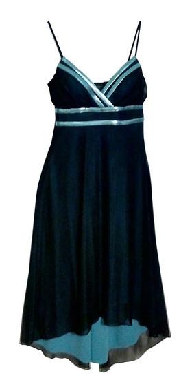 Vestido Americano Negro Con Azul Celeste Talla S