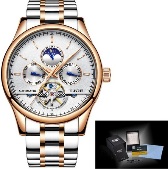Relógio Automático De Luxo Tourbillion Legítimo Lige 3bar