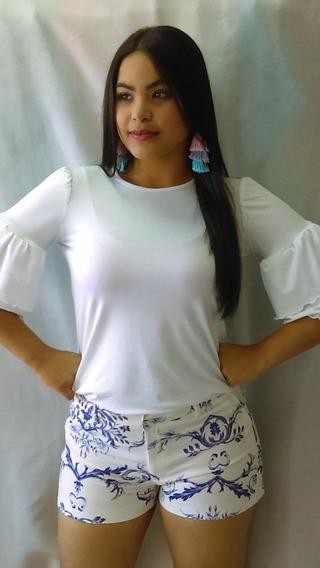 Short De Dama Corto Blanco Y Estampa Lila Talla M / L