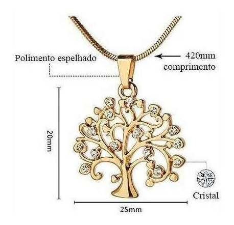 Colar Com Pingente Ouro Rosé Cristais Pequeno Árvore Da Vida