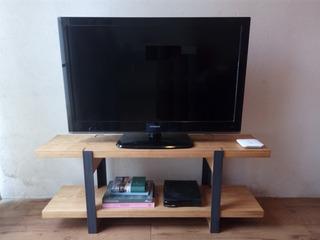 Mesa Tv En Herrería Y Madera Estilo Industrial